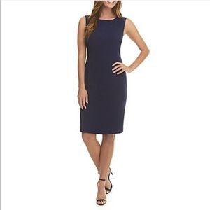 Lord & Taylor || Navy Blue Fitted Sheath Dress 6